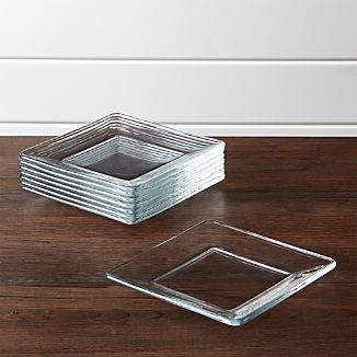 Tempo Square Glass Appetizer Plates Set of 8