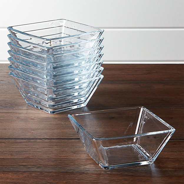 Tempo Square Glass Cereal Bowls Set of 8