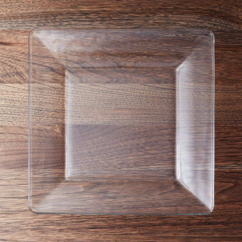 Tempo Square Clear Glass Dinner Plate
