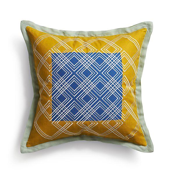 """Tessa Blue 20"""" Pillow with Down-Alternative Insert"""