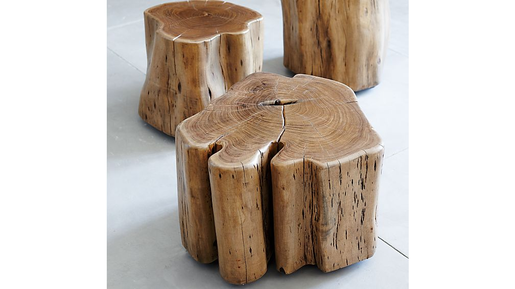Natural Wood Side Table ~ Teton natural solid wood accent table crate and barrel