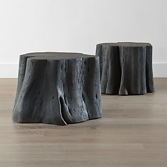 Teton Charred Black Solid Wood Accent Table