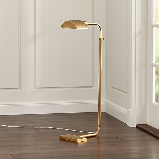 Octavia Floor Lamp Brass: Theorem Aged Brass Floor Lamp