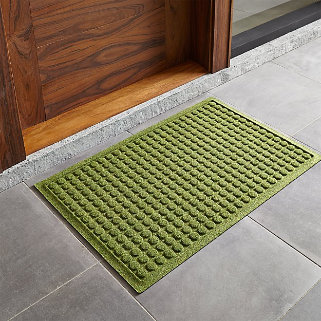 Thirsty dots green 34 x22 doormat crate and barrel for Indoor front door mats