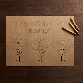 Happy Turkey Kraft Paper Placemats