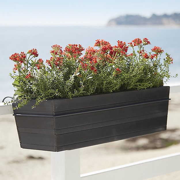Tidore Rectangular Rail Planter and Rail Planter Hook