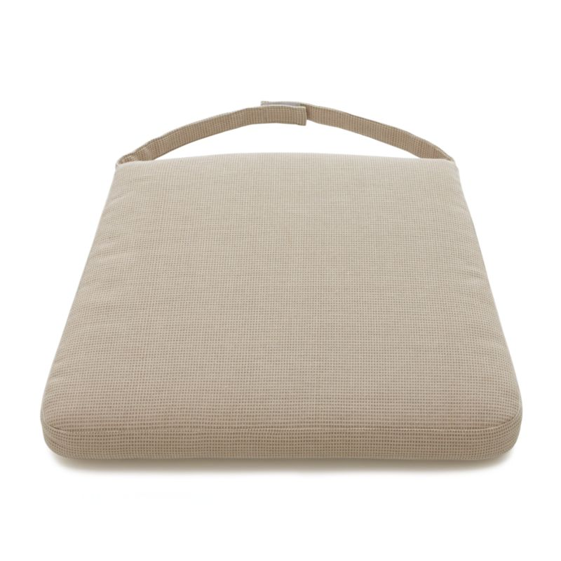 A smart box-style cushion in a neutral fabric that provides visual texture using tonal highs and lows layers onto our Tigris chairs with fabric tab fasteners for stability. A cushy polyester foam insert is surrounded by a 100% cotton cover in natural.<br /><br /><NEWTAG/><ul><li>100% cotton</li><li>High density polyester foam and fill</li><li>Machine wash the removable cover</li><li>Made in India</li></ul><br />