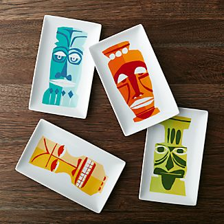 Tiki Appetizer Plates Set of 4