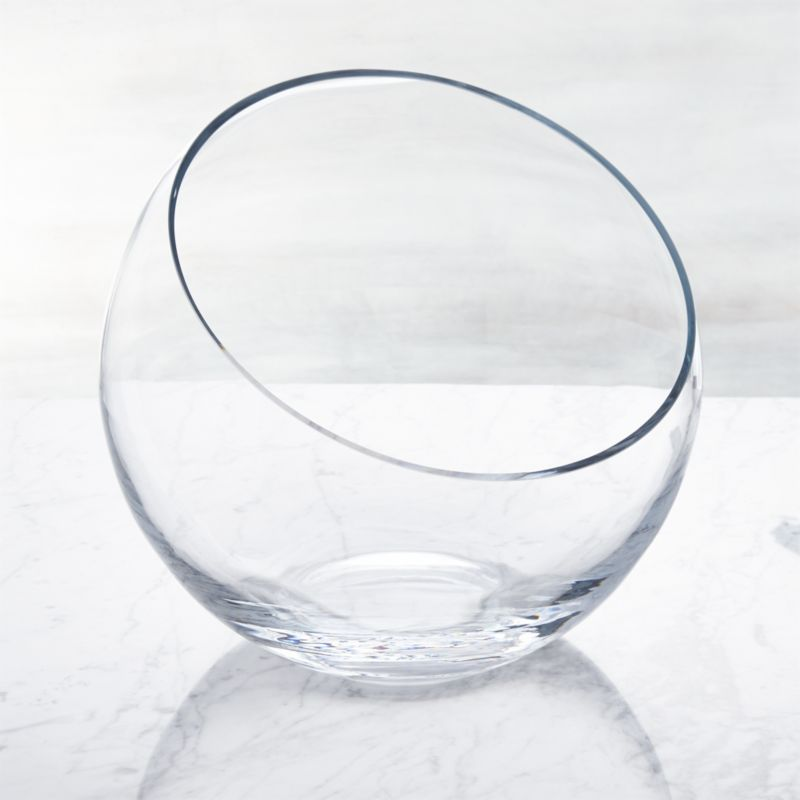 Handmade glass sphere is cut at an angle and polished for a modern look and easy access to snacks, candy, candles or floating blossoms.<br /><br /><NEWTAG/><ul><li>Handmade glass</li><li>Polished rim</li><li>Hand wash</li><li>Suitable for terrarium use</li><li>Made in Poland</li></ul>