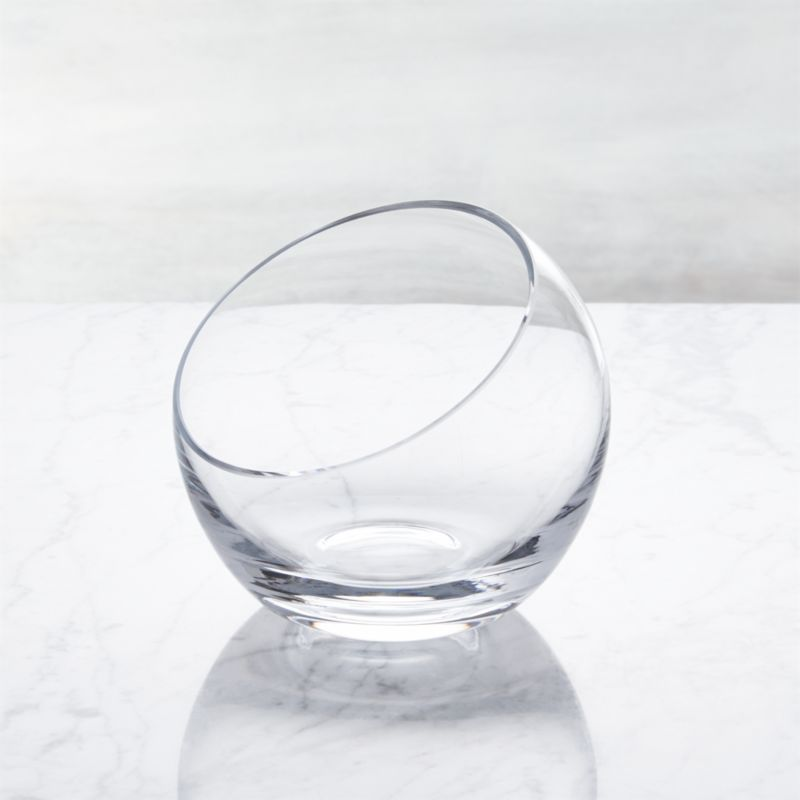 Handmade glass sphere is cut at an angle and polished for a modern look and easy access to snacks, candy, candles or floating blossoms.<br /><br /><NEWTAG/><ul><li>Handmade glass</li><li>Polished rim</li><li>Hand wash</li><li>Made in Poland</li></ul><br />
