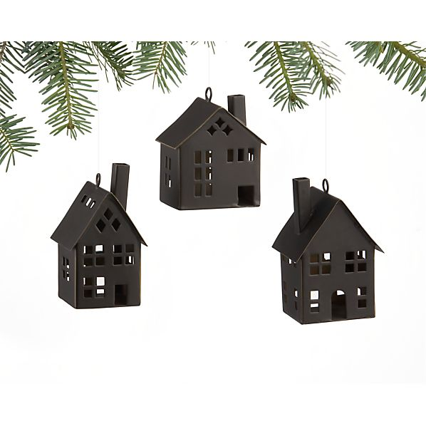 Set of 3 Tin House Ornaments