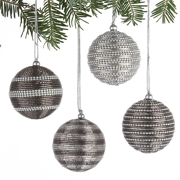Set of 4 Tinsel Ball Ornaments