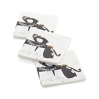 Set of 20 Tipsy Penguins Paper Beverage Napkins