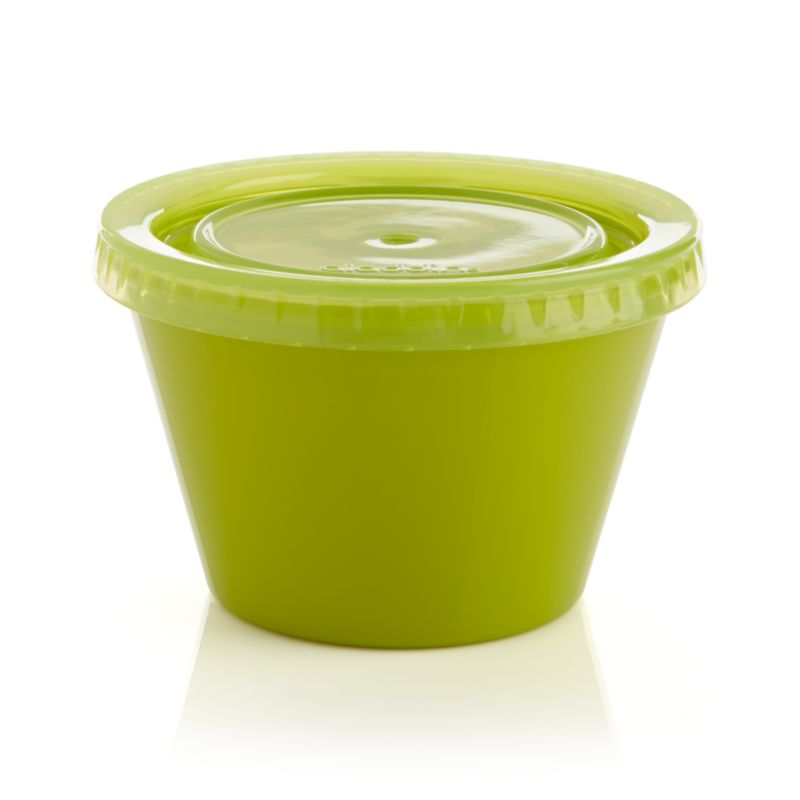 Small servings are easy to take along anywhere with this reusable green container with snap-tight lid. Microwave-safe snack and side holder cleans up in the dishwasher.<br /><br /><NEWTAG/><ul><li>Polypropylene and silicone</li><li>Dishwasher- and microwave-safe</li><li>Made in China</li></ul>