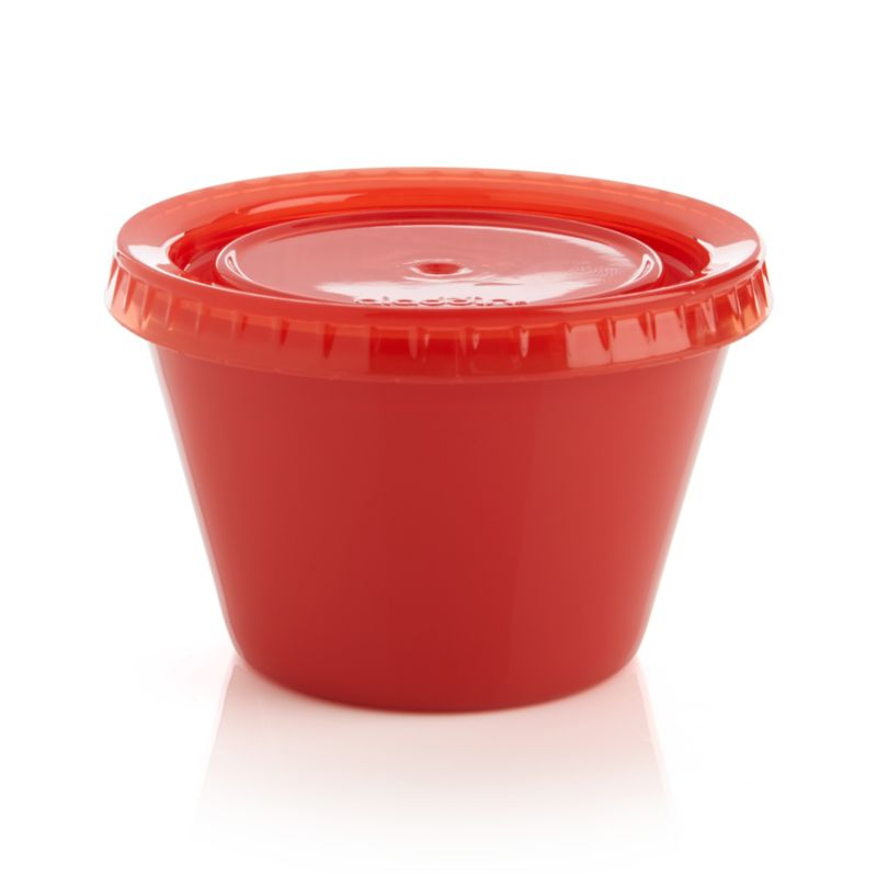 Small servings are easy to take along anywhere with this reusable red container with snap-tight lid. Microwave-safe snack and side holder cleans up in the dishwasher.<br /><br /><NEWTAG/><ul><li>Polypropylene and silicone</li><li>Dishwasher- and microwave-safe</li><li>Made in China</li></ul>