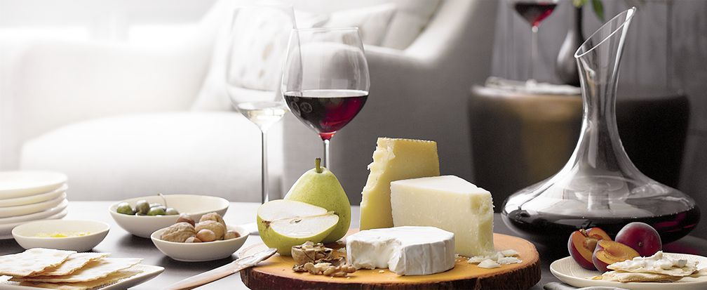 Wood Cheese Platter with Decanter and Wine
