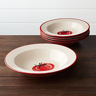 Set of 5 Tomato Pasta Bowls