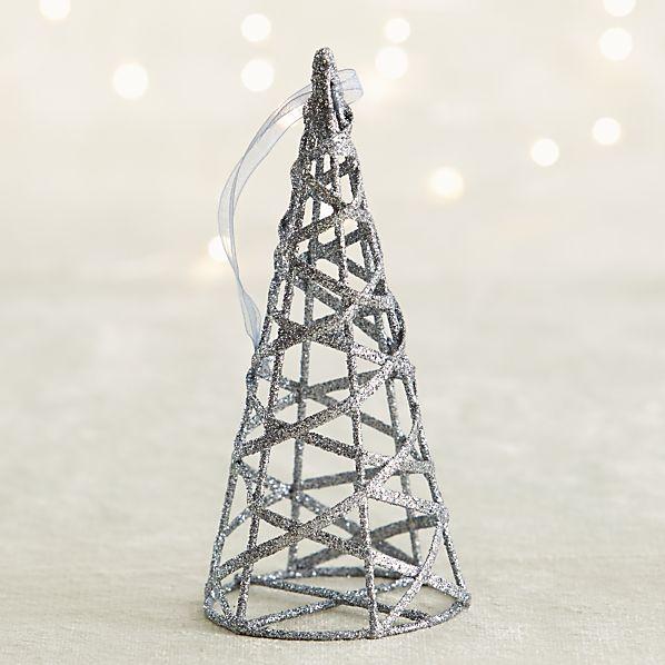 Dark Silver Glitter Cone Tree Ornament