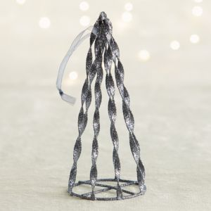 Graphite Glitter Cone Tree Ornament