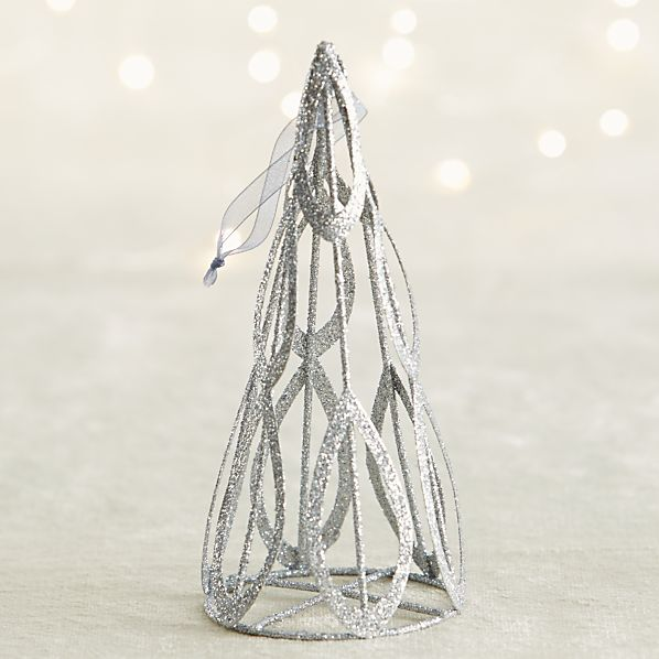 Light Silver Glitter Cone Tree Ornament
