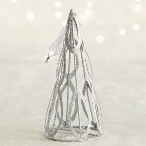 Light Silver Glitter Cone Tree Ornament