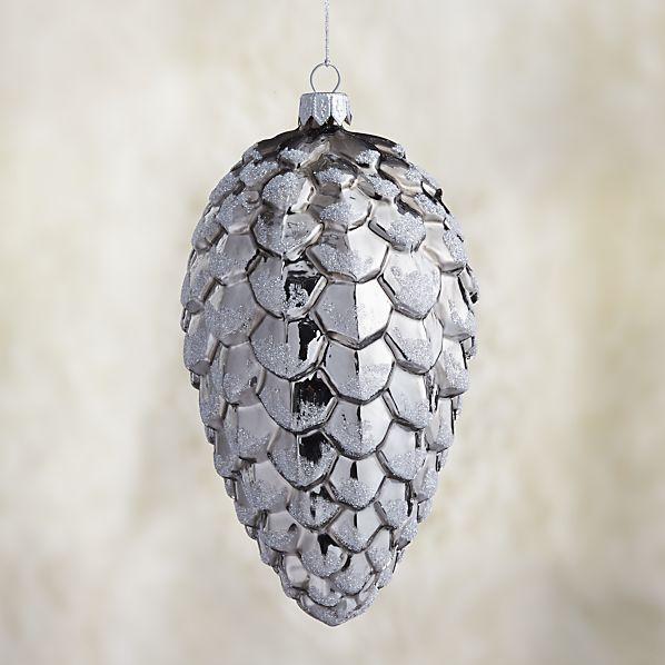 Small Graphite Shiny Glitter Glass Pinecone Ornament