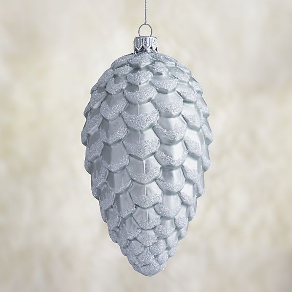 Small Matte Silver Glitter Glass Pinecone Ornament