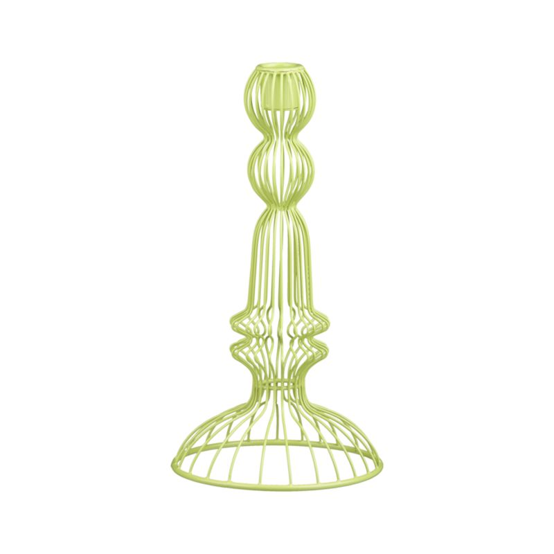 Reminiscent of wire sculptures found in a French garden, this vibrant green candleholder gives dramatic rise to a single taper.<br /><br /><NEWTAG/><ul><li>100% iron</li><li>Accommodates one standard taper candle, sold separately</li><li>Made in India</li></ul>