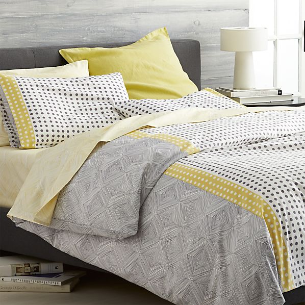 Torben yellow king duvet cover crate and barrel for Crate barrel comforter