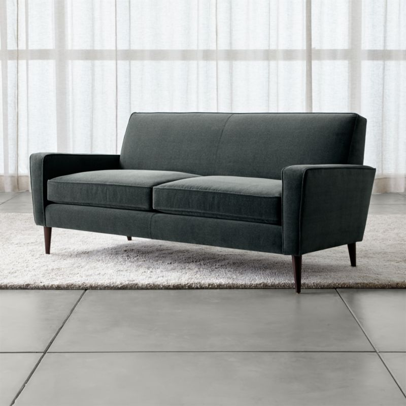 Torino Blue Velvet Modern Apartment Sofa Crate And Barrel