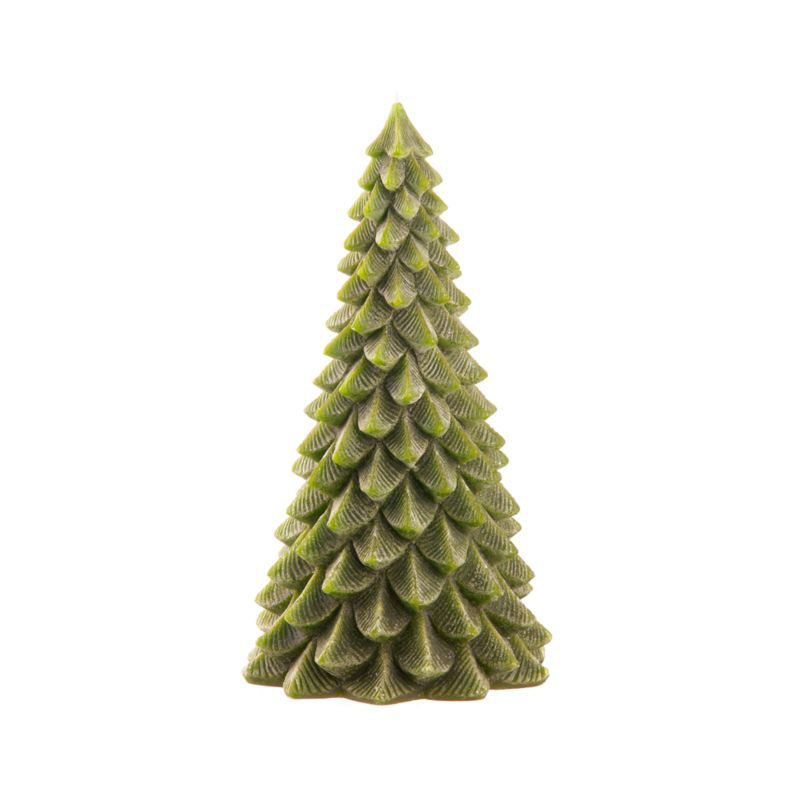 A classic holiday candle shows off beautiful shape and detailing. Each looks stately on its own. But you can also create your own evergreen forest, clustering pine tree candles together.<br /><br /><NEWTAG/><ul><li>100% paraffin wax</li><li>Unscented</li><li>Burn time: 40 hours</li><li>Made in Hong Kong</li></ul>