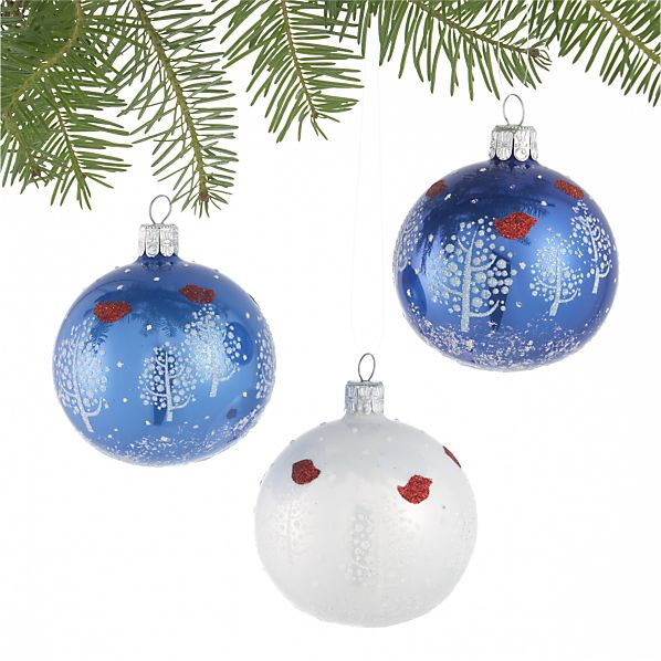 Set of 3 Tree with Bird Ball Ornaments