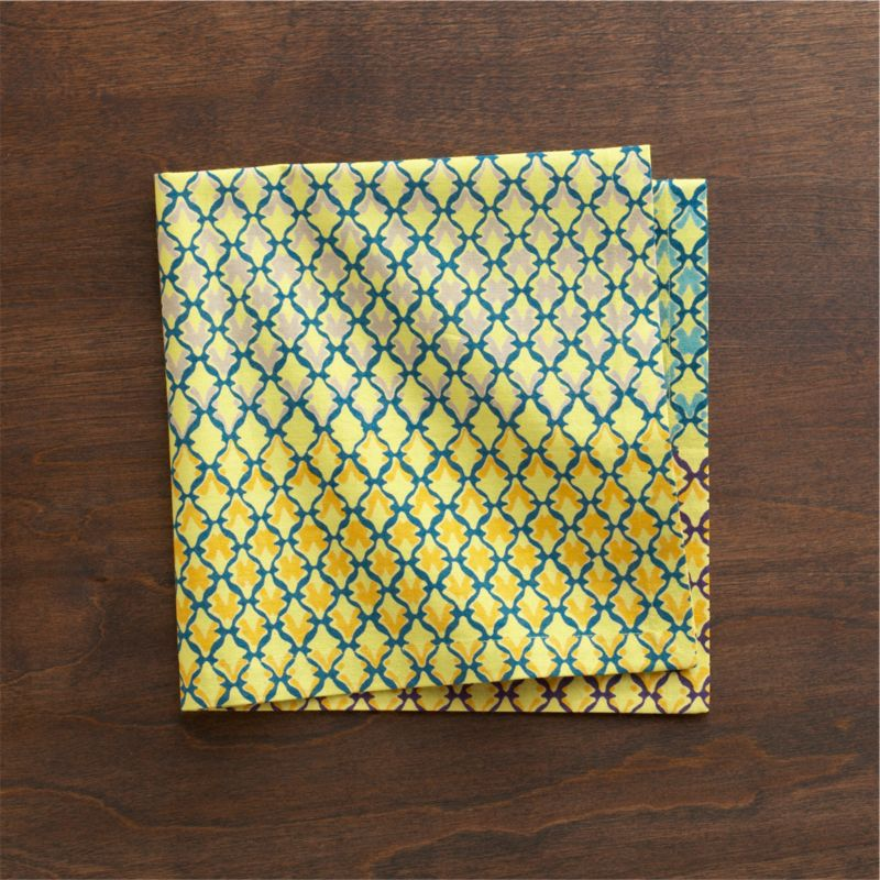 Verdigris trellis casts shadows in graduated colors on lemon yellow in modern, graphic pattern inspired by Indian colonial architecture.<br /><br /><NEWTAG/><ul><li>Cotton</li><li>Machine wash, tumble dry; warm iron as needed</li></ul>