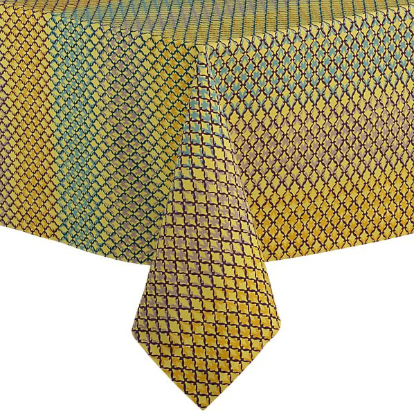 "Trellis Yellow 60""x108"" Tablecloth"