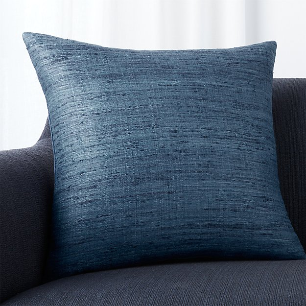 """Trevino Delfe Blue 20"""" Pillow with Feather-Down Insert"""