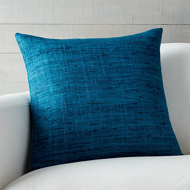 """Trevino Aegean Blue 20"""" Pillow with Feather-Down Insert"""