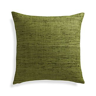 "Trevino Chive Green 20"" Pillow with Feather-Down Insert"