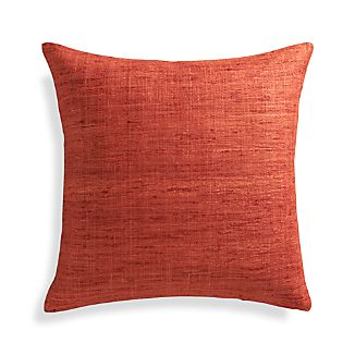 "Trevino Terra Cotta Orange 20"" Pillow with Feather-Down Insert"