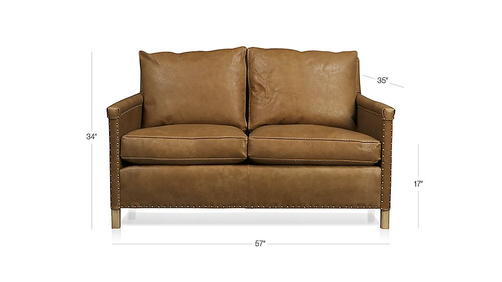 Trevor Brown Leather Loveseat With Nailheads Crate And Barrel