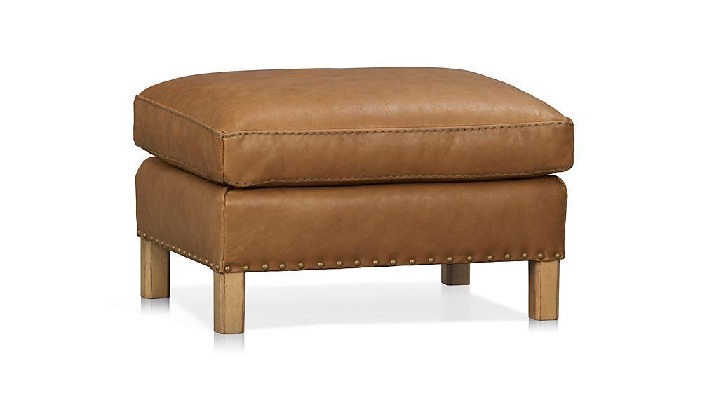 Trevor Leather Ottoman