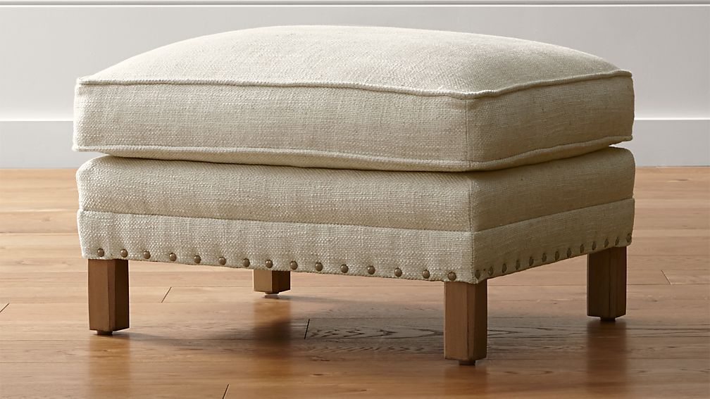 Trevor ottoman in ottomans cubes crate and barrel for Crate and barrel pouf