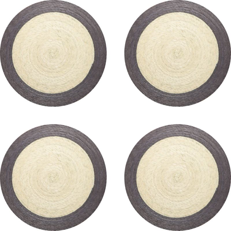 Colorful round with contrasting rimis handmade from natural palm fibers and sealed with a wax finish for easy cleanup.<br /><br /><NEWTAG/><ul><li>98% palm fiber and 2% string</li><li>Wipe clean with damp cloth</li></ul>