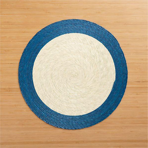 Tropic Palm Blue Trim Placemat