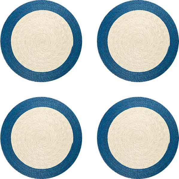 Set of 4 Tropic Palm Blue Trim Placemats