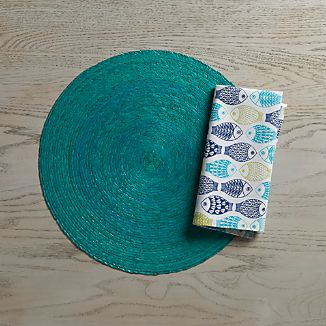 Tropical Palm Aqua Placemat and Fish Napkin