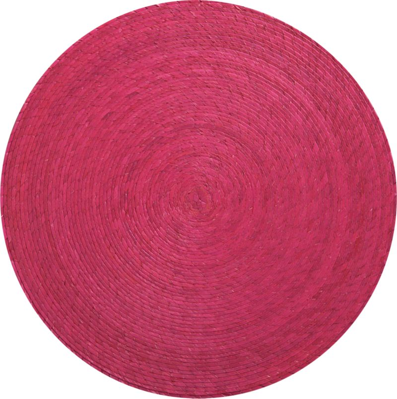 Colorful round is handmade from natural Mexican palm and sealed with a wax finish for easy cleanup.<br /><br /><NEWTAG/><ul><li>100% palm fiber placemat</li><li>Clean placemat with a damp cloth</li></ul>
