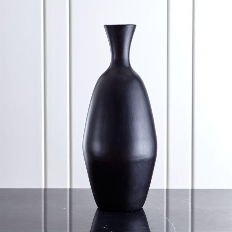 Trumpet Large Black Ceramic Vase