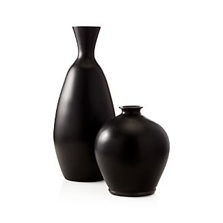 Trumpet Black Ceramic Vases