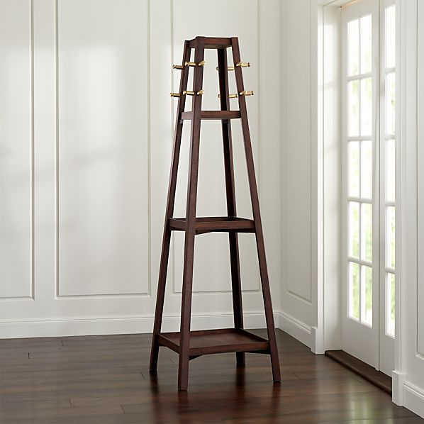 Truro Tabac Wood Standing Coat Rack in Coat Racks | Crate and Barrel