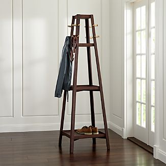 Truro Tabac Wood Standing Coat Rack